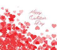 Happy Valentine's day card hearts light background Stock Photo