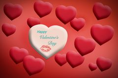 Happy valentine`s day card with hearts and lips vector illustration