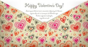 Happy Valentine's day card with hearts Stock Photos
