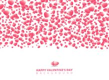 Happy Valentine`s day card with hearts pink on white background. Copy space. vector illustration Stock Illustration