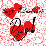 Happy Valentine`s Day card with hearts Royalty Free Stock Photos
