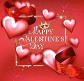 Happy Valentine`s Day card with hearts, ribbons and golden frame. Vector illustration Stock Photos