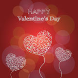 Happy Valentine`s Day card with hearts and text Royalty Free Stock Photo