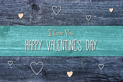 Happy Valentine's Day Card Illustration on wooden background. Valentine's day card illustration with hearts on wooden background Royalty Free Stock Photo