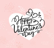 Happy Valentine`s Day. Card with lettering design vector illustration