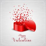 Happy Valentine`s day card and open heart gift Stock Photos
