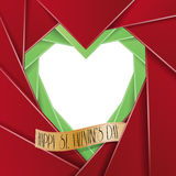 Happy Valentine's Day card in the origami style . Photo frame. Royalty Free Stock Image