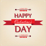 Happy Valentines Day card with ornaments, hearts a. Beautiful background for Valentines Day royalty free illustration