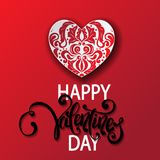Happy Valentine`s Day card with paper cut ornate heart. Hand drawing vector lettering design. International holiday of lovers. Festive banner or poster, paper Stock Image
