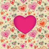 Happy Valentine's Day card with pink heart Stock Photos