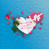 Happy Valentine`s day card with pink rose and gift box Stock Photos