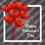 Happy Valentine`s Day card with red balloons in the shape of heart. Royalty Free Stock Photo