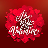 Happy Valentine`s day card, red hearts and lettering, vector ill Royalty Free Stock Photography