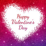 Happy Valentine`s Day card on red purple sparkles background. Vector illustration Stock Photos