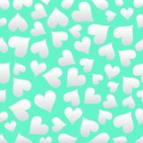 Happy Valentine`s Day card seamless background pattern sweet heart.paper art style Royalty Free Stock Photography