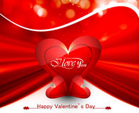 Happy valentine's day card for shiny heart bright colorful Royalty Free Stock Image