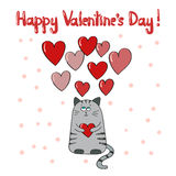 Happy Valentine's day card template. Cute cat in love. Stock Photography
