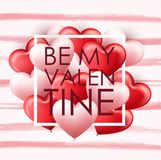 Happy Valentine`s day card template with pink and red heart balloons Royalty Free Stock Image