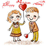 Happy Valentines Day card. Two cheerful children on Valentines Day on February 14. Square Royalty Free Stock Photos