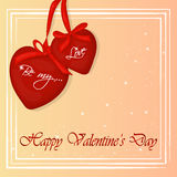 Happy Valentine`s Day card with two hearts. Background for valentine`s day. Greeting card in cartoon style. Vector Royalty Free Stock Image