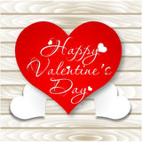Happy Valentine`s Day card. Vector Heart on Wooden background Royalty Free Stock Photos