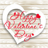 Happy Valentine`s Day card. Vector Heart on Wooden background Royalty Free Stock Photo
