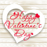 Happy Valentine`s Day card. Vector Heart on Wooden background Royalty Free Stock Image