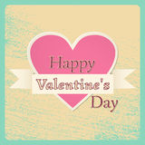 Happy Valentine`s Day card. Vector illustration. Happy Valentine Day background in retro style with grunge heart and ribbon. Vintage design greeting card Stock Photos