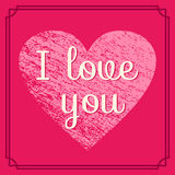 Happy Valentine`s Day card. Vector illustration. Valentine Day background in retro style with grunge heart and text I love you. Vintage design wedding greeting Stock Photography