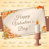 Happy valentine`s day card. Vector illustration scrapbooking congratulation Valentine`s card with candle- eps10 Stock Photo