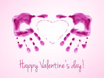 Happy Valentine's Day card with watercolor prints of pink palms. Royalty Free Stock Image