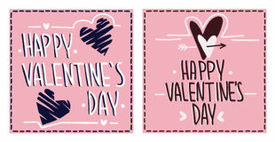 Happy Valentine`s day cards. Vector valentine`s day greetings cards Royalty Free Stock Photos