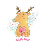 Happy Valentine's day cartoon hand drawn deer Royalty Free Stock Images