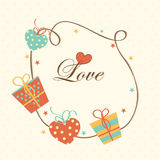 Happy Valentines Day celebration with beautiful frame. Stock Photos