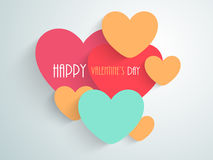 Happy Valentines Day celebration with colorful hearts. Stock Photo