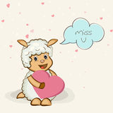 Happy Valentines Day celebration concept. Cute cartoon of a kiddish goat holding a pink heart and saying Miss U for Happy Valentines Day celebration stock illustration