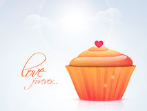 Happy Valentine's Day celebration with cupcake. Stock Photography