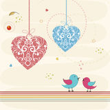 Happy Valentines Day celebration with cute love bird. Royalty Free Stock Images