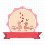 Happy Valentines Day celebration with cute love birds. Stock Photos