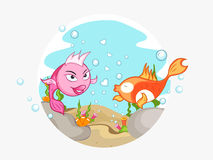 Happy Valentines Day celebration with fish couple. Cute couple of fish in love for Happy Valentines Day celebration Stock Photos