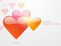 Happy Valentines Day celebration with glossy hearts. Royalty Free Stock Photography