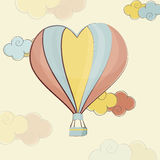 Happy Valentines Day celebration with hot air balloon. Heart shape colorful hot air balloon flying on cloudy background for Happy Valentines Day celebration Stock Images