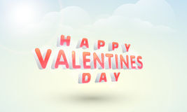 Happy Valentines Day celebration poster design. Shiny 3D text Happy Valentines Day on cloudy sky blue background, can be used as poster, banner or flyer Royalty Free Stock Photo