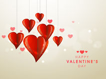 Happy Valentines Day celebration with stylish hearts. Stylish shiny red hanging hearts for Happy Valentines Day celebration Royalty Free Stock Images