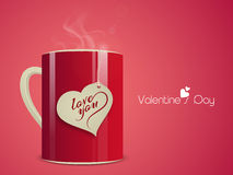 Happy Valentine's Day celebrations with coffee mug. Stock Photography