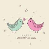 Happy Valentines Day celebrations with love birds. Stock Photo