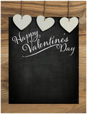 Happy Valentine's Day Chalkboard with Love message, wooden frame Stock Photos