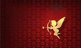 Happy Valentine's Day with cherub gold royalty free stock photo