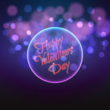 Happy Valentine's Day in a circular shape on the background bokeh Stock Image