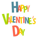Happy Valentine's Day. Colored isolated lettering. Vector illustration Stock Photography